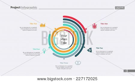 Five Options Doughnut Chart Slide Template. Business Data. Arc, Performance, Design. Creative Concep