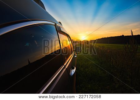 A Road Car Sunset