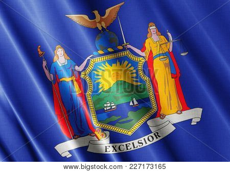 Us State New York Textured Proud Country Waving Flag Close