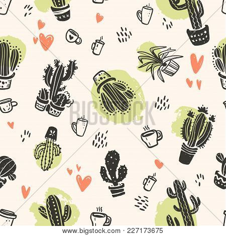 Vector Seamless Pattern With Hand Drawn Cactus And Love Elements Isolated On Light Background. Flora