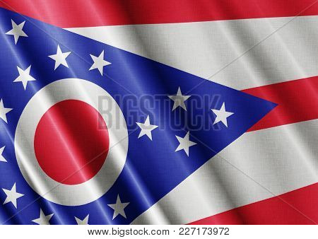 Us State Ohio Textured Proud Country Waving Flag Close