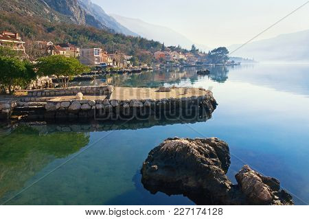 Rugged Coastline Of Kotor Bay  Near Dobrota Town.  Montenegro, Winter