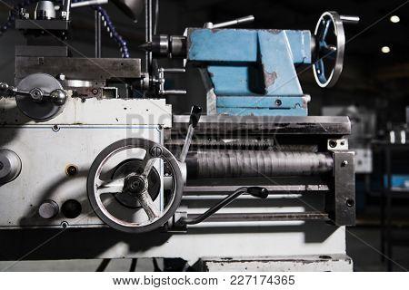 Metal Lathe Closeup Photo. Metalworking Concept Photo