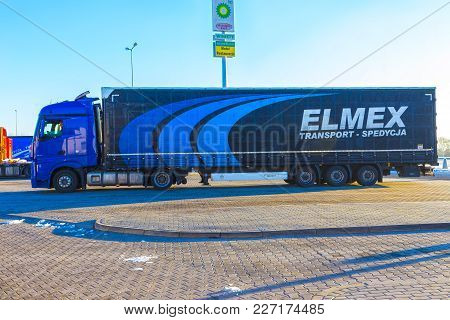 Prague, Czech Republic - December 30, 2017: The Colorful Truck Is Parked Near The Gas Station At Pra