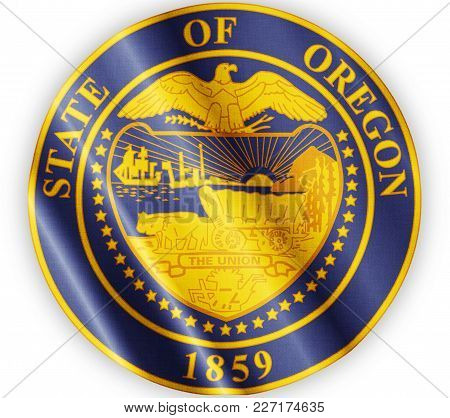 Us State Oregon Seal Textured Proud Country Waving Flag Close