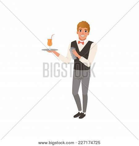 Cheerful Bartender Holding A Tray With Alcohol Drink, Barman Character Mixing A Cocktail Drink In Sh