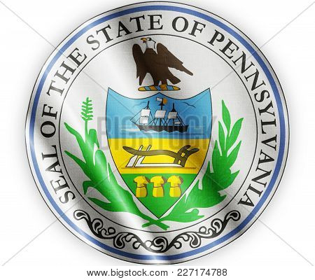 Us State Pennsylvania Seal Textured Proud Country Waving Flag Close