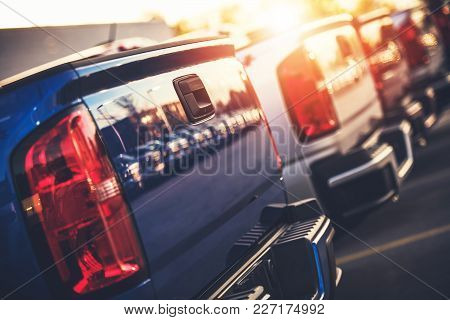 Brand New Pickup Trucks For Sale. Car Dealership Stock. Automotive And Transportation Industry.