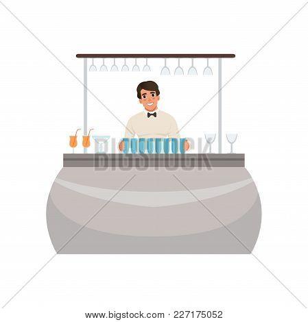Cheerful Bartender At The Bar Counter, Barman Character At Work Cartoon Vector Illustration Isolated