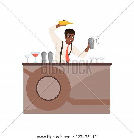 Smiling Bartender Shaking And Mixing Alcohol Cocktail At The Bar Counter, Barman Character At Work C