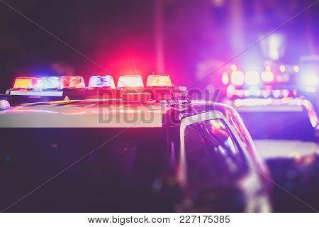 Police Dui Nigh Time Checkpoint. Police Cruiser Lights Closeup Photo.