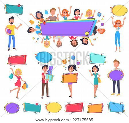 Big Sale With Best Price For Everyone Promo Banner. Happy Characters Hold Full Bags, Boxes With Pres