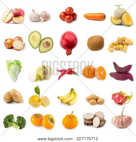 Fresh Fruits And Vegetables Isolated On White Background.