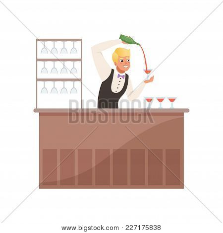 Cheerful Bartender At The Bar Counter Pouring Alcohol Drink From Bottle, Barman Character At Work Ca