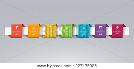 Infographic Timeline Template In The Form Of Colored Paper Tapes. Vector Banner With 7 Options, Step