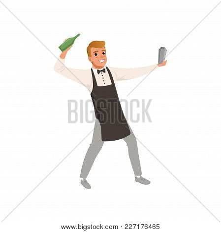 Smiling Bartender Mixing A Cocktail Drink In Shaker, Barman Character Making Cocktail Drinks Cartoon