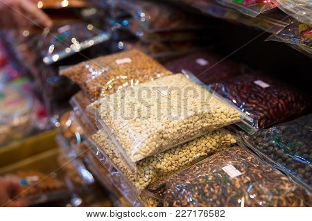 Full Frame Shot Of Packed Beans And Nuts For Sale At Local Thai Market