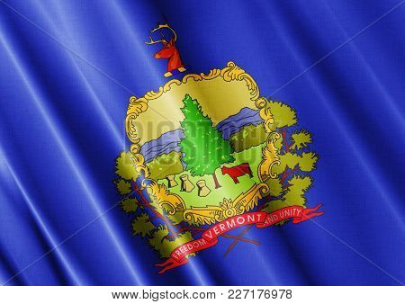 Us State Vermont Textured Proud Country Waving Flag Close