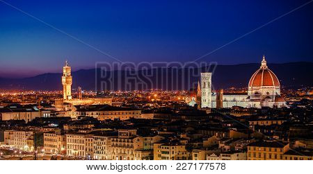 Tuscany Florence Panorama Right After Sunset. Italy, Europe. Panoramic Photo.