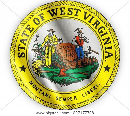 Us State West Virginia Seal Textured Proud Country Waving Flag Close