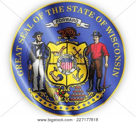 Us State Wisconsin Seal Textured Proud Country Waving Flag Close