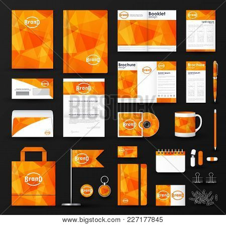 Corporate Identity Template Set. Business Stationery Mock-up With  Triangular Background And Logo. B