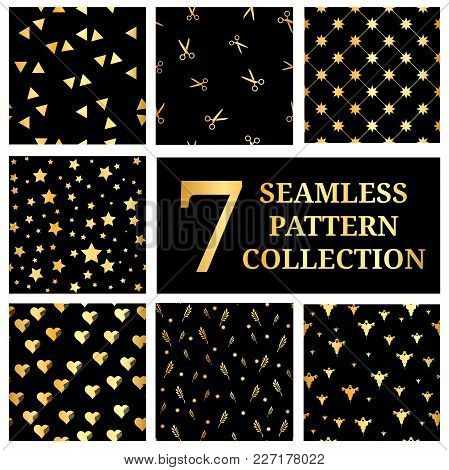 Set Of 7 Gold Seamless Pattern Collection. Gold Star Seamless Pattern. Triangles Seamless. Gold Hear