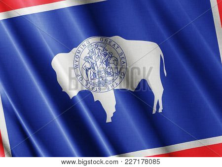 Us State Wyoming Textured Proud Country Waving Flag Close