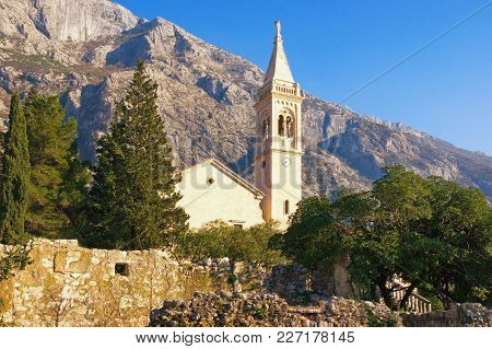 View Of Catholic Church Of Saint Eustache (st. Eustahije) In Dobrota Town, Montenegro