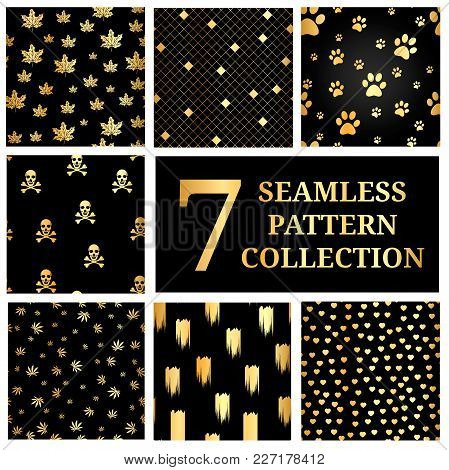 Set Of 7 Gold Seamless Pattern Collection. Gold Dog Paw Print Seamless. Seamless Pattern With Gold S