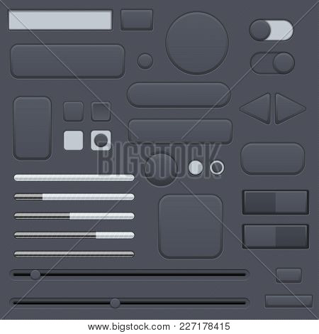 Black Interface Buttons Set. Vector 3d Illustration