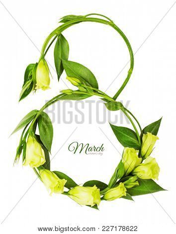 Greeting Card International Women's Day on March 8th. Branches of Eustoma in the form of number eight. Isolated on white background