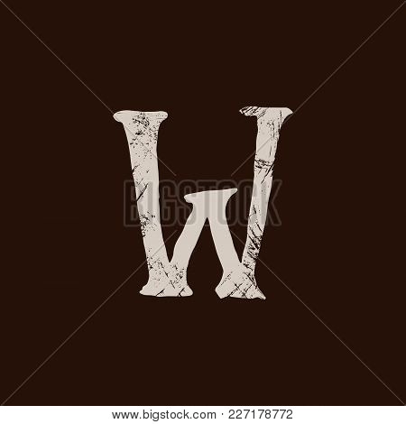 Letter W. Handwritten By Dry Brush. Rough Strokes Textured Font. Vector Illustration. Grunge Style E