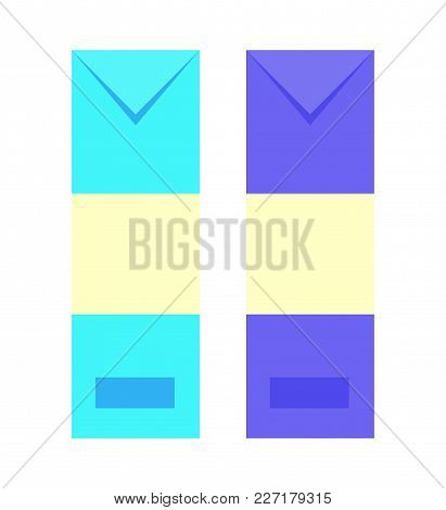 Envelopes Set Of Blue And Purple Colors, Paper And Letter, Important Message And Information, Vector