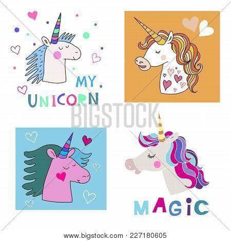 Hand Drawn  Unicorn And Star.magic Unicorn In Cartoon Style.kids Illustration For Design Prints, Bab