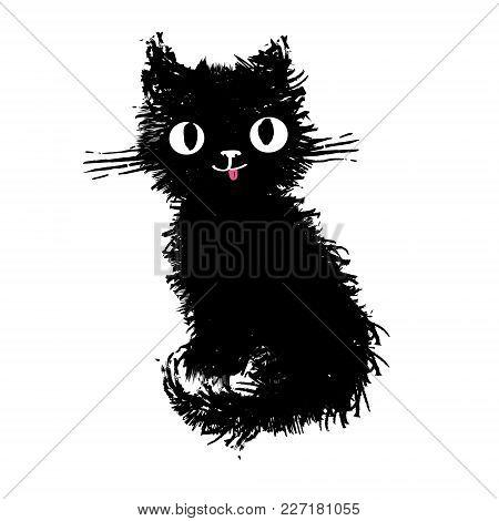 Kitten, Vector Illustration, Hand-drawn Cute Fluffy Funny Cat.