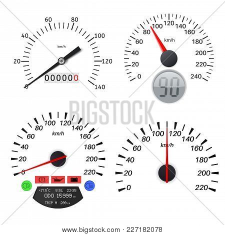 Speedometer Scales. Vector Illustration Isolated On White Background