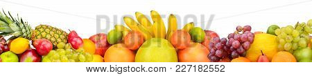 Collection Fresh Fruits Isolated On White Background. Panoramic Collage. Wide Photo With Free Space