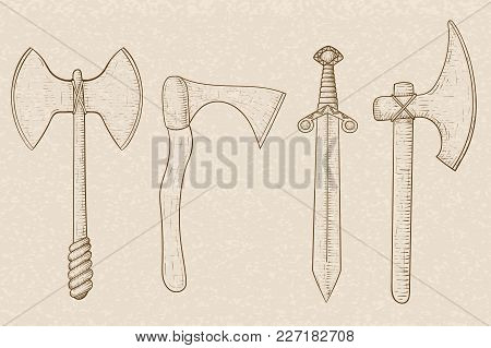 Old Set Of Weapons - Axes And Sword. Hand Drawn Sketch On Beige Background. Vector Illustration