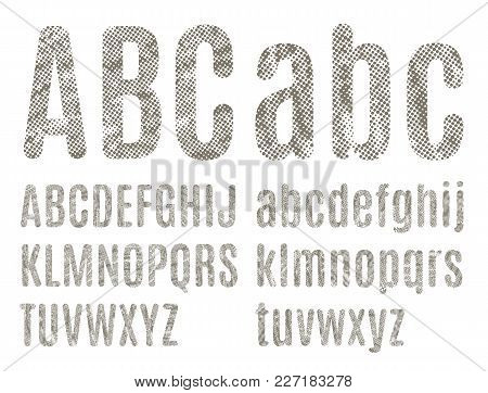 The Letters Of The Latin Alphabet Halftone Texture With Grunge Effect