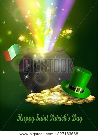St. Patrick S Day Symbol Green Pot Full Of Gold Coins Leprechaun Hat And Fireworks Rainbow And Ribbo