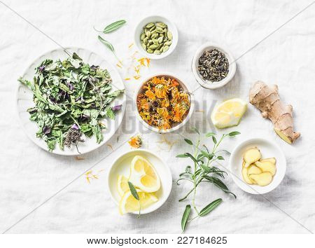 Ingredients For Liver Detox Antioxidant Tea On A Light Background, Top View. Dry Herbs, Roots, Flowe