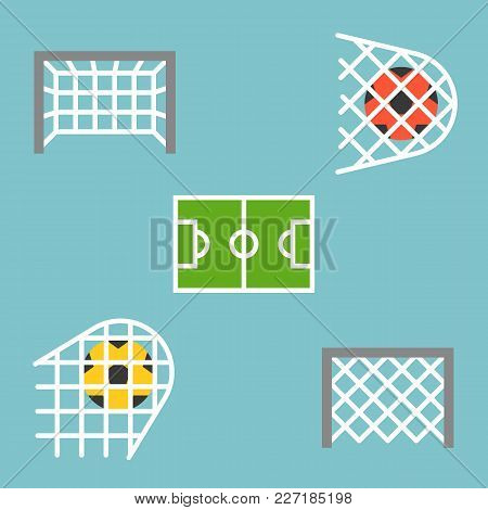 Set Of Shooting Football Strike And Soccer Goal Icon, Flat Design