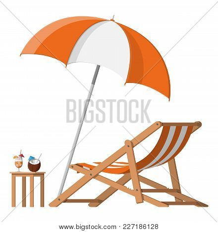 Wooden Chaise Lounge. Sun Lounger, Deckchair, Sunbed, Beach Chair With Umbrella. Table With Glass Of