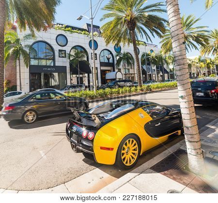 Beverly Hills, California - November 2, 2016: Bugatti Veyron In Rodeo Drive, Beverly Hills