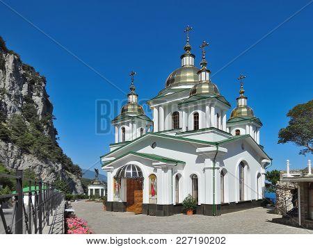 Oreanda, Crimea - July 29 2014: The Church Of St. Michael The Archangel.