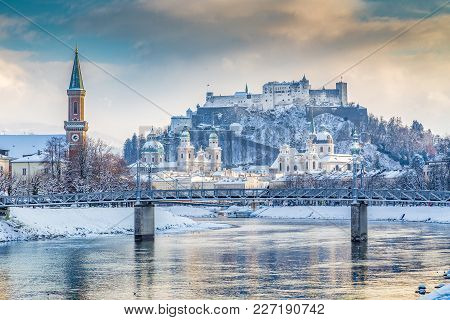 Classic View Of The Historic City Of Salzburg With Famous Hohensalzburg Fortress And Salzach River I