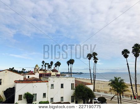 Landscape View Of Santa Cruz Architecture And Rows Of Palm Trees On Sandy Beach, In Santa Cruz, Cali