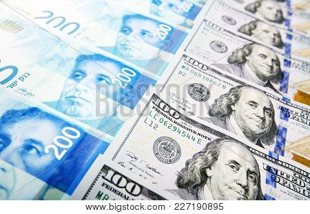 Israeli And American Banknotes. Shekel And American Dollars