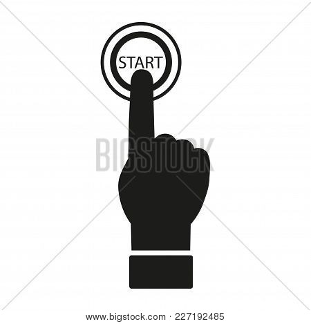 The Index Finger Presses The Start Button. Vector Icon.
